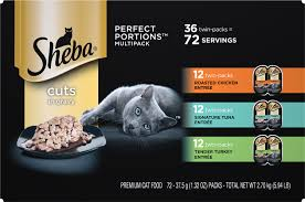 Sheba Perfect Portions Grain-Free Multipack - Roasted Chicken, Gourmet Salmon & Tender Turkey Cuts in Gravy Cat Food Trays
