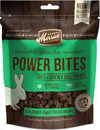 Merrick Power Bites Real Rabbit + Sweet Potato Recipe Grain-Free Soft & Chewy Dog Treats